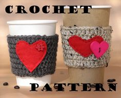 Make for gifts. Coffee Cozy Crochet Pattern PDF,Coffee Sleeve, Tea Cozy, Cup Warmer, Crochet Cozy,Easy, Great for Beginners, Pattern No. 5. $3.50, via Etsy.
