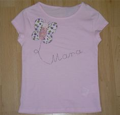 Camiseta personalizada a mano con dibujo de mariposa