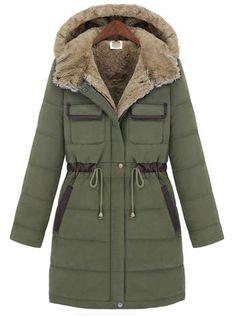 Abrigo con capucha pelo manga larga-Verde EUR€39.23
