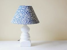 Completed revamped lamp shade on a white lamp and desk