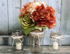 Shabby Chic Wedding Decoration / Rustic  Wedding / Fall Wedding / Bouquet  Vase / Votive Candle Holder / Mason Jar / Sweet Heart Table Set on Etsy, $29.99