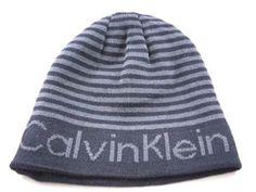 7c9b0812d2a Calvin Klein Striped Reversible Logo Dark Blue Gray Casual Men s Women s  Winter Beanie Hat