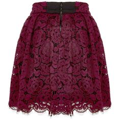 Fizer Pleated Lace Skirt ($298) ❤ liked on Polyvore featuring skirts, mini skirts, short lace skirt, purple skirt, short skirts, box pleat skirt and mini skirt