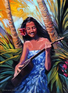 Wade Koniakowsky - Vibrant Ocean Art For Your Home or Office Hawaiian Girls, Hawaiian Art, Vintage Hawaiian, Hawaiian Tropic, Polynesian Art, Polynesian Culture, Tiki Art, Painting Of Girl, Tropical Art