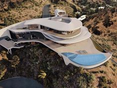 Architecture - renderings(CGI) of a villa in Hollywood Hills Futuristic Architecture, Amazing Architecture, Architecture Design, Casa Bunker, Futuristisches Design, Futuristic Home, Luxury Homes Dream Houses, Modern Mansion, Unique Buildings