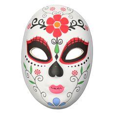 Day Of The Dead Masquerade Mask Flower Head Design Day Of The Dead Mask, Half Mask, Large Flowers, Mask Design, Masquerade, Flower Designs, Party Supplies, Pray, Spiritual