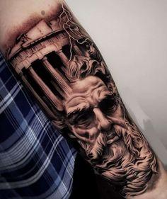Bicep Tattoo Men, Inner Bicep Tattoo, Tattoo Sleeve Designs, Sleeve Tattoos, Hermes Tattoo, Zues Tattoo, Crucifix Tattoo, Realistic Tattoo Sleeve, Poseidon Tattoo