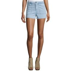 Alice + Olivia Carson Braided-Waist Chambray Shorts ($275) ❤ liked on Polyvore featuring shorts, light blue, women's apparel shorts, fitted shorts, alice olivia shorts, woven shorts, light blue shorts and chambray shorts