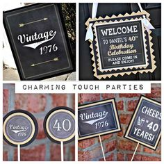 Masculine and Vintage. Chalkboard, black and gold. Fully assembled and customizable. by CharmingTouchParties on Etsy 40th Birthday Centerpieces, Birthday Party Decorations For Adults, Vintage Birthday Parties, Adult Birthday Party, Cupcake Decorations, 65th Birthday, 40th Bday Ideas, Funny Happy Birthday Wishes, Funny Birthday