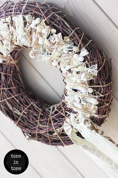 H.O.M.E. #Dress #Up #Your #Door or #Wall with this #DIY #nature #white #wreath #handmade #interior #decoration | by Grapevine Wreath, Burlap Wreath, White Wreath, Grape Vines, Wreaths, Decoration, Interior, Wall, Nature