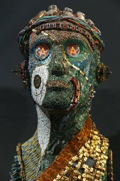 Eccentric bust made from recycled electronic parts
