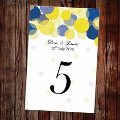 Printable table numbers, easy to edit and print. Great for a blue or yellow themed wedding. View the full wedding template collection and download a free sample.