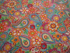 Vintage Floral Cotton Paisley Fabric.