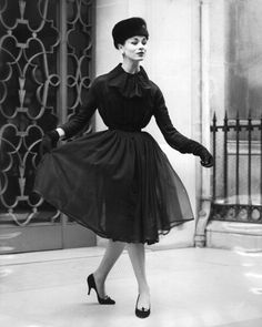 Model is wearing chiffon dress from Christian Dior, 1956