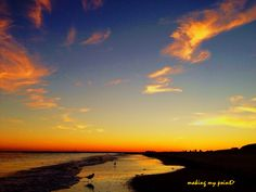 """Photo of the Week 20131014  """"Fry Sky Sunset"""" Taken September 8, 2013, Second Beach, Point Lookout NY. so much going on here- beautiful vapor trail leads you to a hidden crescent moon, family leaving the beach, plus the birds all over.  Hi resolution version at  http://makingmypoint.wordpress.com/2013/10/14/photo-of-the-week-20131014/"""