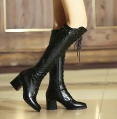 COOLBRAT Genuine Leather Lace Up Pointed Toe Women Boots Knee-high Long Boots Thick Heel Fashion Boot Sexy Lady Shoes Woman H026