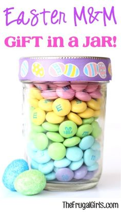 On the hunt for a sweet little gift to give this Easter? How about some Easter M&M Gift in a Jar! What You'll Need: 1 bag Bunny Mix M&M's {12.6 oz.} Half-Pint Mason Jar Easter Ribbon What Y...