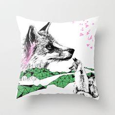 Fox+&+Cub,+Green+&+Pink+Throw+Pillow+by+Esther+Pallett+-+$20.00