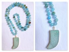 Long Druzy Necklace - Blue Druzy Horn on Hand Knotted Blue Faceted Agate