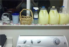 """This post not only has instructions for home made and reusable disinfecting wipes, it also has links to recipes for homemade laundry detergent, homemade """"shout"""", and reusable homemade dryer sheets. I need to get working!"""