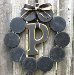The Original Pittsburgh Penguins Hockey Love Wreath with Letter