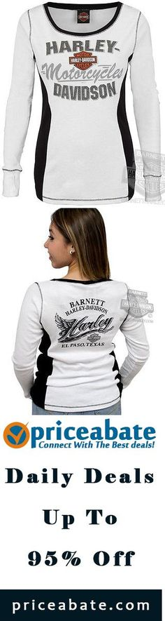 #blackfriday #blackfridaydeals #blackfridaysales Harley-Davidson Ladies Iron Armor B&S White Long Sleeve T-Shirt - Buy This Item Now For Only: $24.99