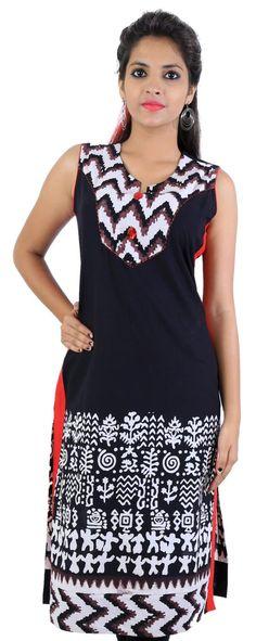 Black white Embellished zig zag printed women ethnic kurti