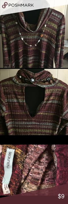 Maurice's cowl neck multicolored top size XL A bit open on the back, super soft & flowing. Flattering tunic length. Would look great with leggings/jeggings!  Size XL. Excellent condition, no tears or stains.  Necklace not included. Maurices Tops Tunics