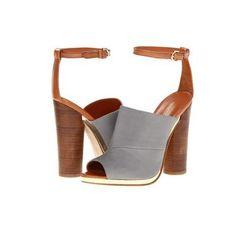 5c98a277fe6a46 Rebecca Minkoff Ragini High Heels - Grey Jersey Fabric Tan Vachetta Unique  Shoes