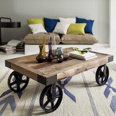 Retro nábytek - konferenční stolek na kolech 135x35x75cm