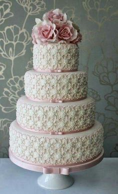 4 tiered floral and lace cake