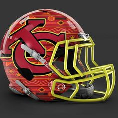Go Chiefs Football Helmet Design, College Football Helmets, Football Uniforms, Football Stuff, 32 Nfl Teams, New Helmet, American Football League, Kansas City Chiefs Football, Nfl Gear