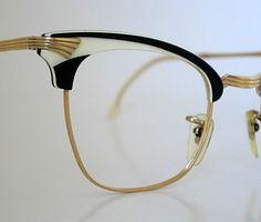 833c5461bd5 Vintage Germany Black White Layered Lucite or Plastic Horn Rim Cat Eye Art  Deco New Old Stock Frames Eyeglasses 1 10 12K GF SMALLER Unisex