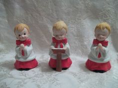 Homco Ceramic Christmas choir boy carolers set 3 Vintage figurines 5""