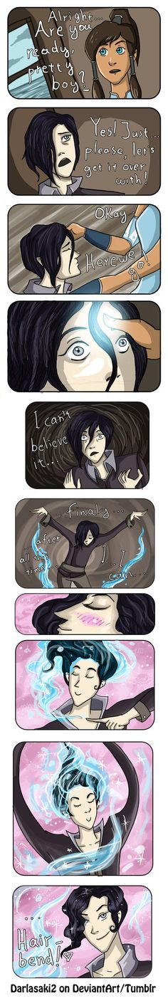 What have I done? …Somebody stop me before my headcanons go out of control! lol! This is what I imagined happening when Korra restores Tahno's bending! ....