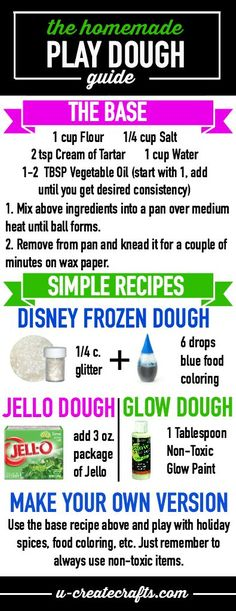 The Homemade Play Dough Guide by U Create. Create your very own version using this base recipe! Many tips and tricks, too!