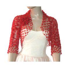 Wedding Bridal Bolero Shrug Lace Crochet Shrug Boleros Red ($62) ❤ liked on Polyvore featuring outerwear, cardigan shrug, crochet lace shrug, lace bridal shrug, shrug cardigan and lace shrug