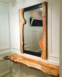 Rustic Mirrors, Wood Mirror, Diy Mirror, Mirror Ideas, Live Edge Furniture, Log Furniture, Custom Wood Furniture, Live Edge Wood, Wood Design