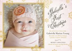 Shining Arrival - Winter Girl Birth Announcements - Hello Little One in Chenille Pink [more at pinterest.com/eventsbygab]