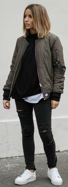 Bomber jackets + Camille Callen + oversized khaki bomber + distressed denim jeans + fresh white Asos sneakers  Bomber: Sixth June, Top: Pimkie, Jumper: Sheinside, Jeans: Primark, Sneakers: Asos.