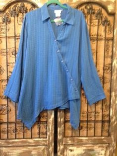 Soft Surroundings Blue Asymmetrical Tab Sleeve Buton Down Lagenlook Top L NEW #SoftSurroundings #Lagenlook #Any