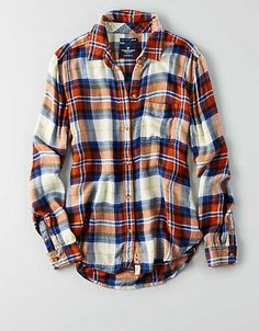 This orange and blue plaid shirt with jeans, winter boots, Broncos beanie, and coat. GAME DAY OUTFIT!!