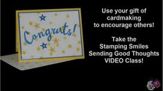 http://www.stampingsmiles.com - Custom made graduation cards are easy with the Stampin' Up! Bravo Stamp Set and Hearts & Stars Decorative Masks!  Watch to see how.  Register now for the Stamping Smiles Sending Good Thoughts VIDEO Class!  http://stampingsmilesstudio.com/send-words-of-encouragement-in-handmade-cards/  Shop in my online store http://www.shopwithshelly.com  Subscribe to The Stamper's Insider!  http://www.thestampersinsider.com  Visit my stamping blog…
