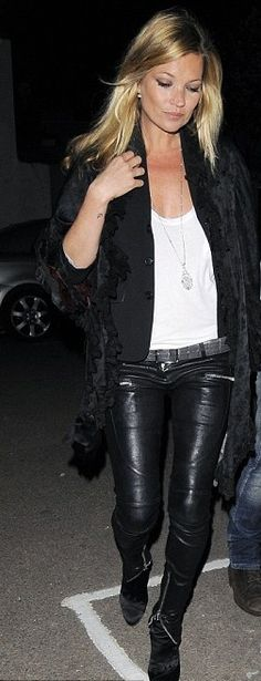 #Velvet Cape Coat + Black Vest + White Tank + #Leather Zippered Pants + Black Booties + Silver Chain = Kate Moss
