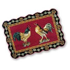 The Country Porch Features French Roosters Hooked Rug From C F Enterprises