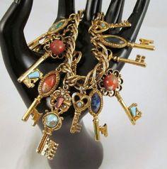 Skeleton Keys Victorian Revival Charm Bracelet Plastic Cabochons 12 Charm