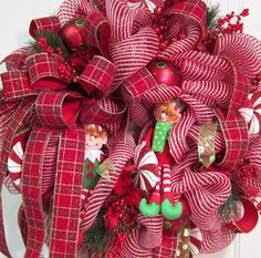 Deco Mesh Christmas Door Wreath Holiday Wreath by LadybugWreaths, $179.97