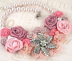 Bridal Statement Necklace with Handmade Satin Flowers and Aurora Borealis Repurposed Brooch - Passion for Pink $185.00