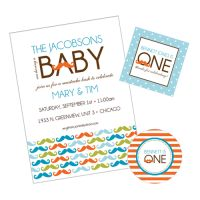 Little Man Mustache Bash Baby Shower Party Collection from #whhostess, featuring a modern mustache pattern, polka dots and stripes, with a fresh color palette of turquoise, orange, green and brown.  #whhostess offers THE most fabulous collections for baby showers, including gorgeous party invitations, coordinating decorations, personalized baby shower games, signage and more. #whhostess #babyshower #chevron