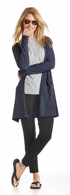 This fall and winter find the perfect sun protective style with the Coolibar UPF 50+ Merino Wool Collection. You'll love how soft the fabric feels and how easy it is to wash. Plus, the temperature regulation will allow this fabric to go wherever you go!    Find the Merino Wool Open Cardigan Outfit at Coolibar!